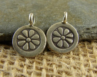 QUANTITY DISCOUNT - Hill Tribe Fine Silver Daisy Disk Charms - Ten Pieces - htdd10q