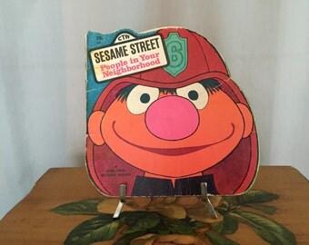 Sesame Street Book Fireman Ernie People in Your Neighborhood Vintage Cartoon Children's Book Firefighter Paperback