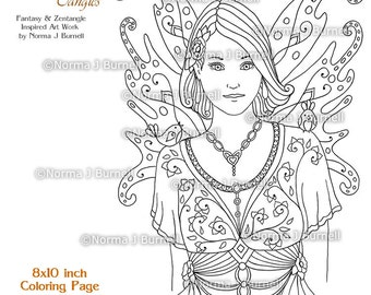 fairy tangles printable coloring pages by norma j burnell fairies to color fairy coloring book sheets - Fairy Coloring Book