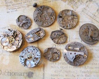 Vintage Antique Watch movements parts Steampunk - Scrapbooking r86