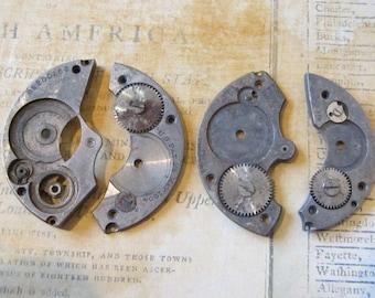 Vintage Antique metal pocket Watch parts - Steampunk - Scrapbooking s74
