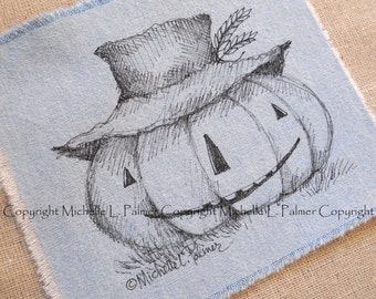 Large Original Pen Ink on Fabric Illustration Quilt Label by Michelle Palmer Scarecrow Harvest Halloween Wheat Garden Keeper