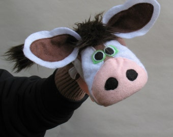 One of a kind Brown Cow Puppet