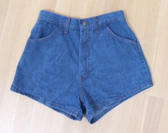 Vintage 70s High Waisted Denim Shorts XS Jean Shorts // extra small high waist booty hot pants 1970s