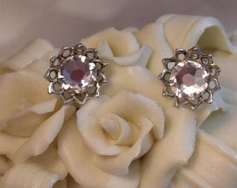 Midnight Smokey Swarovski Crystal  Post Stud Earrings Prom, Wedding, Anniversary, gift for her