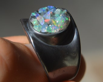 Raw Opal Ring Mosaic Style Oxidized Sterling Silver