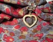 Vintage Faux Heart Pearl Scarf Slide in Gold Tone Metal Monogram Letter J