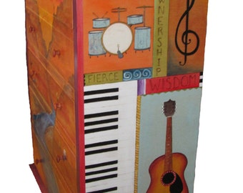 "HANDPAINTED DRESSER - 50"" tall x 36"" wide x 18"" deep - wood dresser - Personalized Dresser - wood furniture - childrens dresser"