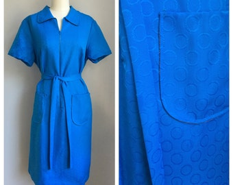 Mod Vintage 1960's NOS Blue Turquoise Bubble Polka Dot Belted Dress w/ Tag  Large L