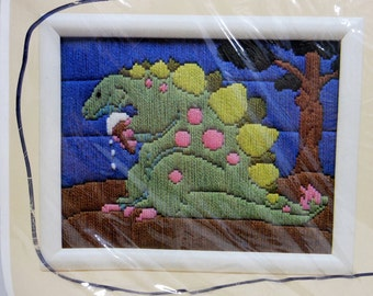 1989 Vintage Stitchery Kit / Kid's Room Decor / Easy Craft / Greenery Pink Dinosaur / Creative Circle / Wool Yarn / Sewing Supplies