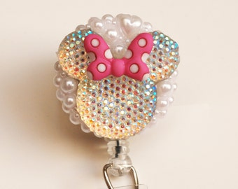 Minnie Mouse Iridescent Silhouette With A Pink Polka Dotted Bow ID Badge Reel - Retractable ID Badge Holder - Zipperedheart