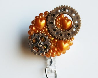 Steampunk Gears And Hearts ID Badge Reel - Retractable ID Badge Holder - Zipperedheart