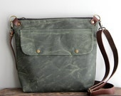 Waxed Canvas Purse Day Bag in Green with Exterior Pocket and Leather Strap