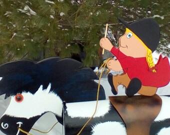 Horse mailbox, pony mailbox, girl rider and pony horse mailbox