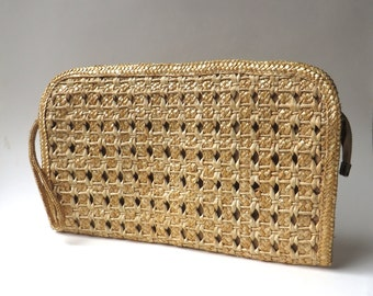vintage Large Woven Natural Straw Wristlet / Woven Straw Clutch