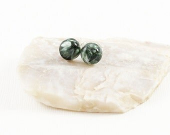 Seraphinite Gemstone . 8mm Smooth Domed Round . Sterling Silver Posts Studs Earrings . Dark Forest Green with Light Green Schiller . E16102