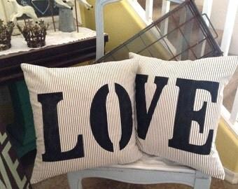Farmhouse Black and Off White Ticking  LOVE Pillows  Lake House / Beach / Coastal Cottage