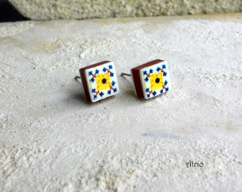 Portugal Antique Tile Replica Post Stud Earrings from OVAR Portugal - Yellow and Blue (see photo of actual Facade)