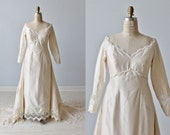 1960s Wedding Dress / Empire Waist / Sheath / Detachable  Train / Lauren