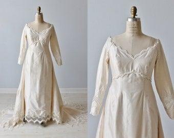 1960s Wedding Dress / Empire Waist / Sheath / Detachable  Train / Lauren