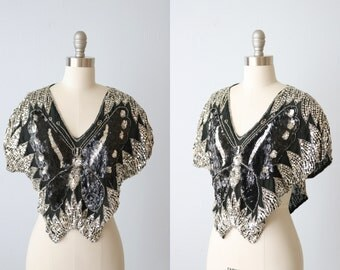 Vintage Sequin Beaded Butterfly Blouse Top / Cropped Black and Silver Butterfly Top / Sequin Butterfly Top / 80s Glam Rock