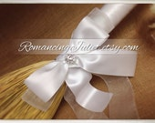 Classic Jump Broom Made in Your Custom Colors with Rhinestone Accent ..shown in ALL white