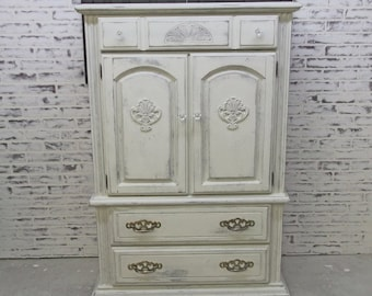 Armoire Cabinet, Weathered White Cottage Style - DR802 Shabby Farmhouse Chic, Chest, Nursery Furniture