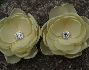 Pale Yellow, Banana Yellow Flower Brooches Bobby Pins Shoe Clips SET OF 2