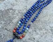 HOLD for Sarah 3rd EYE Chakra Lapis Lazuli 108 Bead Mala Necklace