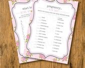 10% OFF INSTANT UPLOAD  Baby Shower Games Pink & Green Rose - Print Your Own