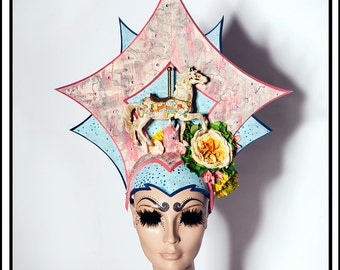 Lady Roxanne Sugar Palace… Carousel Horse Pony Headdress with Flowers in Pink and Blue