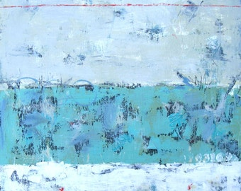 """Turquoise acrylic Abstract painting on canvas, Wall decor, Shabby Beach cottage, 24"""" x 24"""", stencil numbers, Home and living, gift idea"""