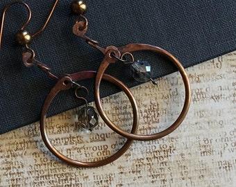 Copper Hoop Earrings, Gypsy, Celtic Style