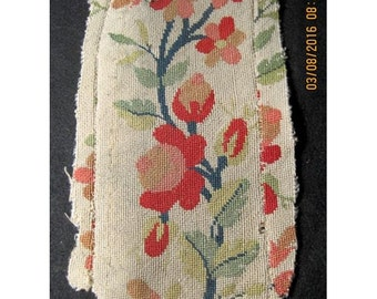 Surprise SALE - Antique Needlepoint Tapestry Roses French 19thc