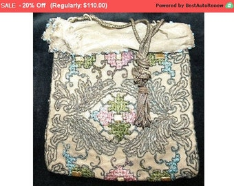 On SALE - Antique Edwardian Purse Metallic Beaded Embroidered