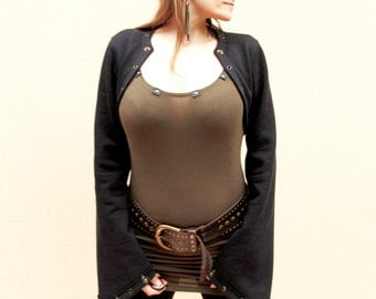 Darnassus -  cotton bolero with leather art appliques, pick your color