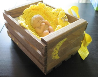 Handmade Wood Bed, Bedding and a 3 inch Polymer Clay OOAK  Baby Doll