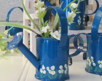 Hand Painted Miniature Watering Cans for Display or Favors