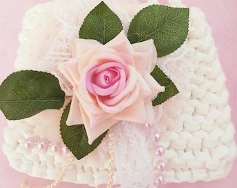 "Rose Garden"" hand Bag- toddler- Purse-flower girl -MTM Dollcake- wedding- girls purse-photo props-special-occassion-Rose-pearls--girls-wear"