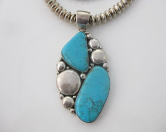 Vintage Large Turquoise Sterling Silver Southwest Necklace Pendant