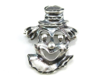 Vintage Etched Sterling Silver Clown Face  Pin Brooch