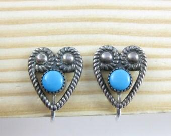 Vintage Heart Shape Sterling Silver Turquoise Clip on Earrings