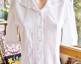 Designer Lace Blouse, Laura Ashley Blouse, White Lace Blouse, Vintage designer blouse, size M