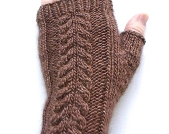 Handknit Fingerless Gloves for Women, Teen Girls, Texting Gloves, Hand Warmers, cable pattern, wool and silk blend, brown gloves, knit mitts