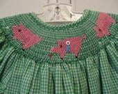 Green gingham hand smocked bishop with blue ribbon pigs size  4 T