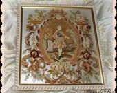 vintage Framed French Aubusson style tapestry needlepoint with roses  Shabby frame