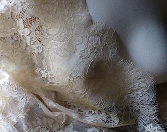 SALE Nude Eyelash Lace Fabric for Bridal, Veils, Lace Caps, Gowns, Lingerie CH 210