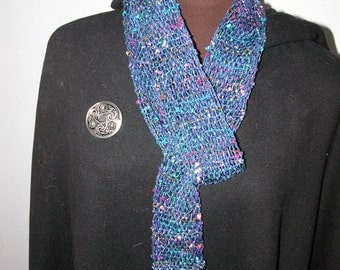 Handwoven Women's Scarf in Shades of Blue