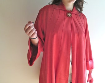 """Vintage Linen Swingcoat in Coral by All-State """"365"""" Size S/M"""