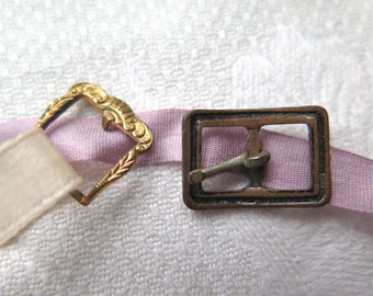 Antique Doll Buckles Steel and Gold Wash Victorian Buckles